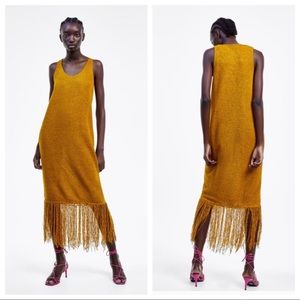 Zara knit dress with fringe hem